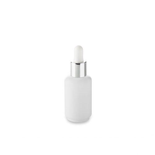 flacon verre opale en 50 ml Embalforme et compte goutte argent blanc