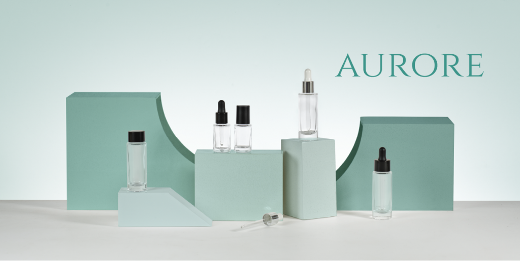 select the glass Aurore collection by Embalforme for your cosmetics